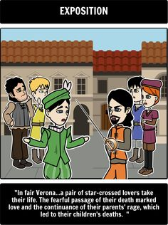 The Tragedy of Romeo and Juliet - Summary: Break down Shakespeare's Five-Act Structure using a Romeo and Juliet storyboard created on Storyboard That! Here is a close up of the story's exposition. Romeo And Juliet Characters, Ikon Wallpaper, Teaching Aids, Student Engagement, William Shakespeare, Storyboard, Summary, Fun Activities, Lesson Plans