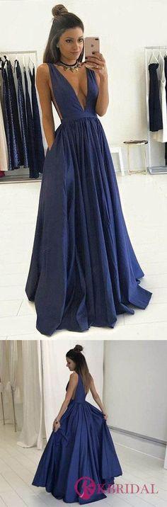 Sexy Prom Dress Deep V Neckline, Prom Dresses, Graduation Party Dresses, Formal Dress For Teens