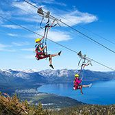 BLUE STREAK ZIP LINE  Enjoy incredible views of Lake Tahoe as you glide through the sky on Heavenly's 3,300-foot-long zip line. With top spe...
