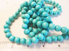 Wood Beads, 10mm Round, Dyed Turquoise Wood, Dyed Waxed Mala Beads, 2mm Hole, 15 inch Strand, QTY 1 - WB103 by FLcowgirls on Etsy #beadsforsale #wood