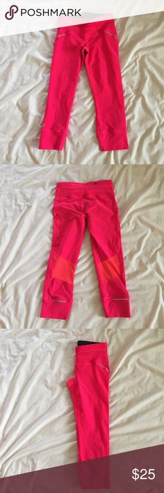 Athleta Coral Relay Capri PRODUCT DETAILS Our most flattering, performance-fitted capri for running and gym training. INSPIRED FOR: run, gym/training, studio workouts (20 inch inseam) Ultra-comfortable wide waistband stays put NEVEREND DRAWSTRING. Fully adjustable continuous loop never gets lost in the wash Reflective trim where you want it Mesh ventilation lets sweat escape, rear zip pocket Banded cuffs won't ride up, breathable CoolMax® crotch gusset #862109 Athleta Pants Capris