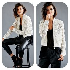 Free People Lace Bomber Jacket Free People lace bomber jacket in ivory, size XS. No tags but never worn! Free People Jackets & Coats
