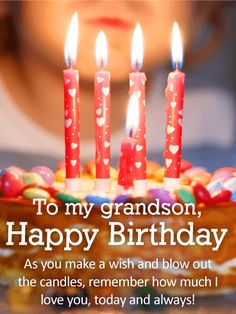 Send Free Blow Out The Candles Happy Birthday Wishes Card For Grandson To Loved Ones