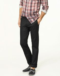slim stretch trousers and sockless knock-off sperry's