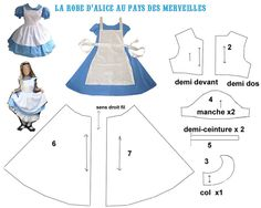 THEME THEME Alice in wonderland-dress (lots of Alice in wonderland printables here) The post THEME appeared first on New Ideas. Alice Cosplay, Alice Costume, Cosplay Diy, Alice In Wonderland Printables, Alice In Wonderland Tea Party, Doll Clothes Patterns, Clothing Patterns, World Book Day Costumes, Creation Couture