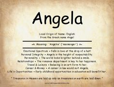 Angela Name Meaning Crazy Quotes, Best Quotes, Angela King, Name Quotes, Greek Names, Personal Integrity, School Organization Notes, Heaven Quotes, Quotes That Describe Me