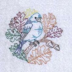 Free Embroidery Design: Autumn Birds and Leaves