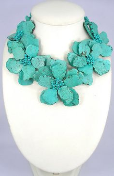 bridesmaid gifts,turquoise necklace,Bead Necklace,Beaded Jewelry With Turquoise And Wired Flower. $36.00, via Etsy.