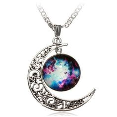 Galaxy Moon Necklace ($8.94) ❤ liked on Polyvore featuring jewelry, necklaces, accessories, colares, pendants & necklaces, planet necklace, glass necklace, cabochon necklace and cabochon pendant