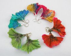 Felted Ginko leaf earrings-embellished with Japanese seed beads Fabric Beads, Fabric Jewelry, Silk Fabric, Fuzzy Felt, Wool Felt, Felted Wool, Wet Felting, Needle Felting, Felt Necklace