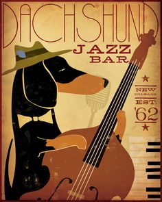 Dachshund Jazz Bar original graphic illustration on canvas 18 x 24 x 1.5 by Stephen Fowler. $180.00, via Etsy.