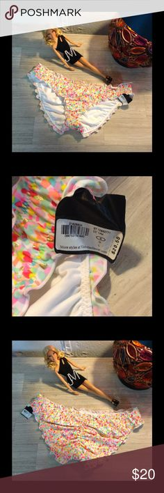 ❌SOLD❌NWT Victoria's Secret Bikini Bottom ❌SOLD❌BNWT Ruffled and scrunched multicolored cheeky bikini bottoms. Sz S and run true to size. Colors include hues of pinks, greens, blues, oranges, purple, yellow, red, and gold. Matches any color top! 🛍ENJOY SPECIAL BUNDLE DISCOUNTS!🎁FREE GIFT WITH PURCHASE! 🙋IF YOU'D LIKE TO MAKE AN OFFER, PLEASE USE THE OFFER BUTTON! 💋THANK YOU!💋 Victoria's Secret Swim Bikinis