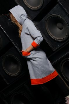 Gray Orange Cotton Hooded Dress // Gray Long Sleeve Dress // Warm Dress // Plus Size Dress // Shirt Dress // Sport dress // Heavy Duty Grey Long Sleeve Dress, Gray Dress, Warm Dresses, Cotton Dresses, Hooded Dress, One Back, Orange Dress, How To Run Longer, Dress Shirt