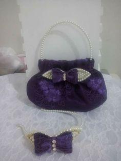 Renda pérola tiara bolsa