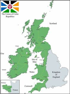 Celtic Union hypothetical map, including Wales and Brittany. A posiible long term result, should Brexit be implemented. Map Of Britain, Great Britain, Planet Map, Imaginary Maps, Celtic Nations, Celtic Culture, Fantasy Map, Fantasy City, Alternate History