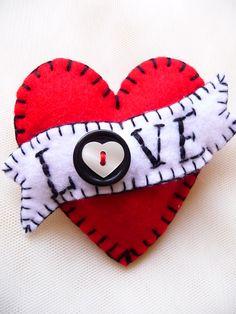 FB054 - Hot Red LOVE Heart Shape Handmade Felt Brooch For Your Loved One  £13.50
