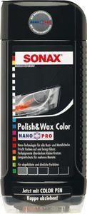 autos polieren SONAX 02961000 Polish & Wax Color NanoPro schwarz Autopolitur Wachs 500ml
