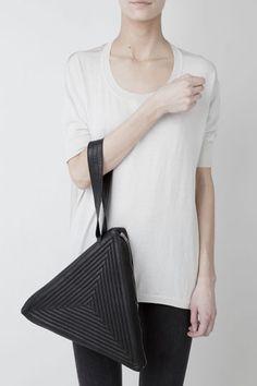 Leather triangle clutch bag with wrist strap; Gareth Pugh