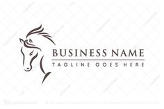 Logo for sale: Artistic Horse Logo Simple partial calligraphy line horse logo for equine business. horsey equestrian stallion jumping horse riding knight showjumping logo logos