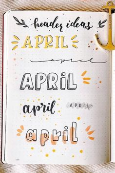 Best April Bullet Journal Header Ideas For 2020 - Crazy Laura If you need help starting out your spreads and layouts for the month, then check out these super cute bullet journal april headers for inspriation! Bullet Journal School, April Bullet Journal, Bullet Journal Headers, Bullet Journal Lettering Ideas, Bullet Journal Banner, Journal Fonts, Bullet Journal Notebook, Bullet Journal Ideas Pages, Bullet Journal Inspiration