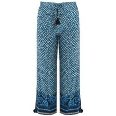 Figue Fiore silk cropped trousers (3.484.035 IDR) ❤ liked on Polyvore featuring pants, capris, pantalon, trousers, blue multi, relaxed fit pants, bohemian pants, cropped pants, patterned pants and draw string pants