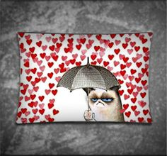Grumpy Cat Under Umbrella Love Rain