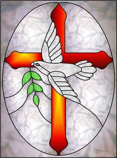 Dove Cross a Decorative Window Film Stained Glass Church, Stained Glass Quilt, Stained Glass Birds, Faux Stained Glass, Stained Glass Designs, Stained Glass Panels, Stained Glass Projects, Stained Glass Patterns, Glass Painting Designs