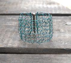 Bracelet Cuff. Statement Jewelry. Wire Knit. Unique Jewelry. Knit Jewelry. Teal Green by imwyred on Etsy https://www.etsy.com/listing/218642683/bracelet-cuff-statement-jewelry-wire