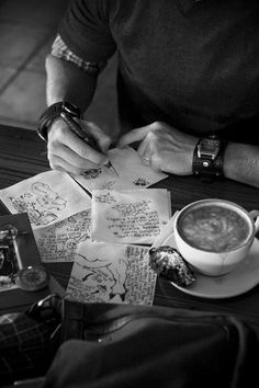 A nice coffee shop and notes to take down observations for future writing projects.