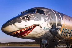 Embraer's new shark-themed passenger jet has no middle seats Airplane Painting, Airplane Art, Image Avion, New Shark, New Jet, Airplane Fighter, Aircraft Painting, Commercial Aircraft, Nose Art