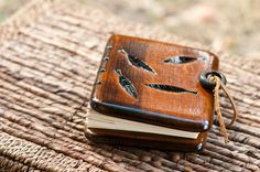 Unique mini journal with carved match wood covers / made to order