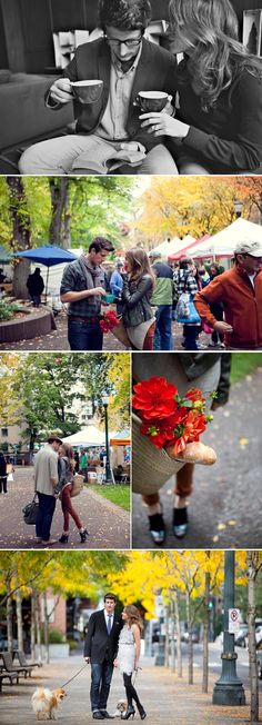 Engagement photos at a farmer's market. What a cute idea!