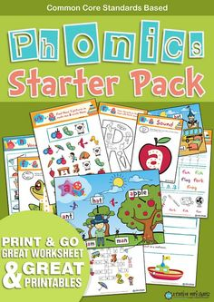 This wonderful and beautifully designed Phonics Starters Pack combines 174 fun filled pages of quality phonics worksheets. Can be used in association of other products such as Jolly Phonics... We have used the most commonly used sounds first in the Phonics Starters Pack . Also we have the level - check out Phonics Blending Pack.  Letter Sounds: S, A, T, I, P, N, C/K, E, H, R, M, D, G, O, U, L, F, B, AI,  174 pages...Awesome..