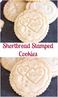 Stamped Shortbread Cookies are a delicious buttery melt in your mouth cookie that makes the perfect Valentine's Day Treat.  Stamped with your favourite message!  The kids will love helping you bake these Shortbread Cookies. #valentinesday, #cookies #stampedcookies #dessert via @https://it.pinterest.com/Italianinkitchn/