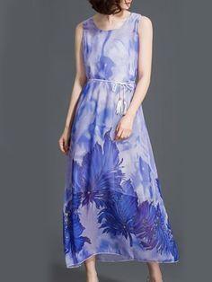 Round Neck Belt Printed Maxi Dress-Berrylook