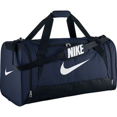 Nike Brasilia 6 Large Duffel ($40) ❤ liked on Polyvore featuring bags, luggage, all purpose duffels, blue and duffels