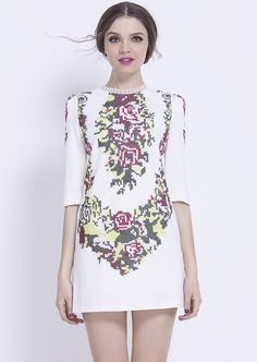 Embroidered Shift Dress with pixelated floral print