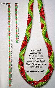 Marlene Brady: Watermelon Pattern #Seed #Bead #Tutorials