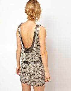 Image 2 ofFrock and Frill Drop Waist Dress with Scallop Sequin Embellishment