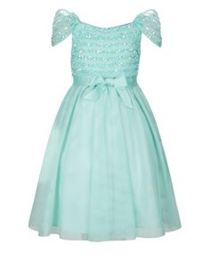 Sparkle on with our Eavan dress for girls, decorated with hand-embellished sequins and beads across the bodice. Designed with cold-shoulder sleeves, and a full, softly-gathered skirt, this party-perfect piece is finished with a grosgrain ribbon sash on the waist.