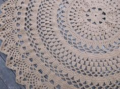 """Hand Made Large Round Crochet Cotton Doily Rug In 60"""" Circle Lacy Pattern Non Skid by Bycamilledesigns 