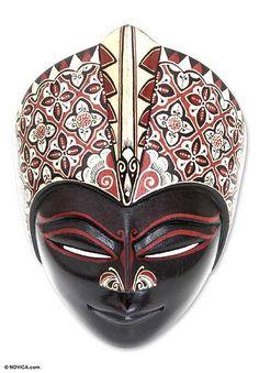 Wood batik mask, 'Princely Magic' by NOVICA