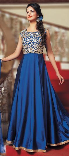 473080: Blue color family stitched Anarkali Suits .