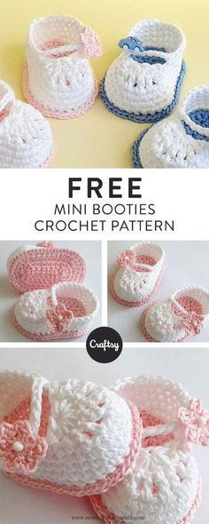 Crochet Baby Booties Make these adorable crochet baby booties! They make the perf... Crocheted Baby Booties, Crochet Baby Sandals, Crochet Boots, Baby Girl Crochet, Crochet Baby Clothes, Crochet Slippers, Baby Blanket Crochet, Quick Crochet, Cute Crochet