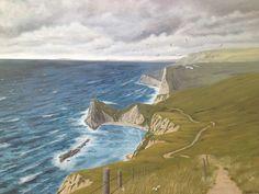 Man of war cove, Jurassic Coast, Dorset, acrylic on canvas Jurassic Coast, Man Of War, Landscape Paintings, Still Life, Surrealism, Coastal, Ocean, River, Abstract