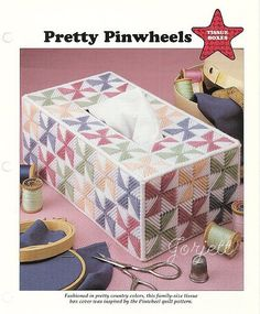 Pretty Pinwheels ~ Tissue Box Cover plastic canvas pattern #LeisureArts #Tissuecover