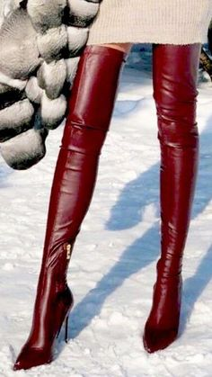 Red Knee High Boots, Leather High Heel Boots, Thigh High Boots Heels, Red Boots, Long Boots, Brown Boots, Over The Knee Boots, Shoe Boots, Botas Sexy