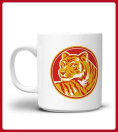 Tiger Prowling Head Circle Retro Mug - Tiger shirts (*Partner-Link)