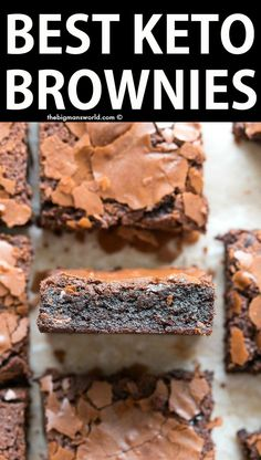 Best Fudgy Keto Brownies recipe ever- No flour, no oil and no sugar needed! Gooey, rich and better than a box mix! Best Fudgy Keto Brownies recipe ever- No flour, no oil and no sugar needed! Gooey, rich and better than a box mix! Low Carb Sweets, Low Carb Desserts, Low Carb Recipes, Diabetic Deserts, Healthy Desserts, Ketogenic Desserts, Healthy Lunches, Healthy Recipes, Keto Chocolate Chips