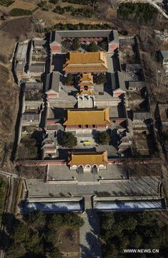 Aerial photos of Western Qing Tombs located in Yixian County (易县), Baoding City of north China's Hebei Province. The Imperial Tombs of the Ming and Qing dynasties were inscribed onto the World Heritage List in 2000. [Image Credit: www.news.cn]